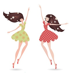 Isolated young women with long hair vector