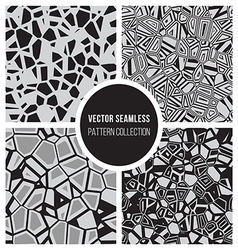 Seamless bw mosaic pattern collection vector