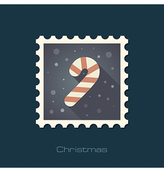 Christmas candy cane flat stamp vector