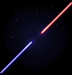 Two glowing swords opposed to each other on cosmic vector