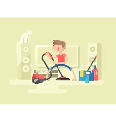 Boy cleaning house vector