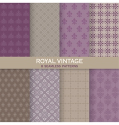 8 seamless patterns - royal vintage set vector