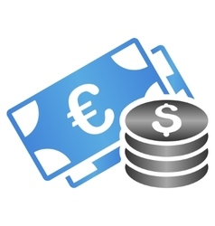 Euro and dollar cash gradient icon vector