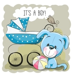 Dog with baby carriage vector image