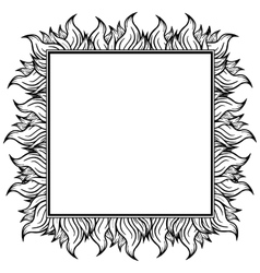Black white squared frame with spurts of flame vector
