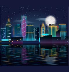 big city night landscape with skyscrapers in neon vector image vector image
