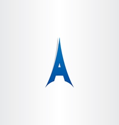 Blue tower letter a logo icon vector