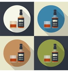 Bottle and glass icon vector