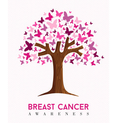 Breast cancer awareness pink butterfly tree art vector