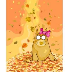 cartoon cat in the autumn fallen leaves vector image vector image