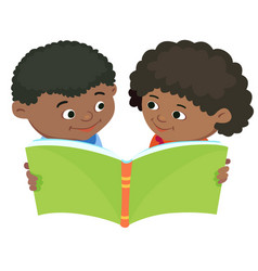 Cartoon kids reading book african africa vector