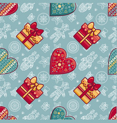 Christmas gift box and patterned heart seamless vector
