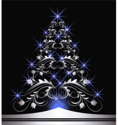 Christmas silver fur tree vector