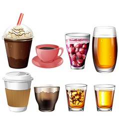 Coffee and cocktail drinks vector image vector image