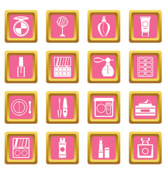 Cosmetics icons pink vector