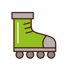 Cute brightly green roller skates vector