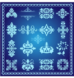 Decorative design elements blue vector