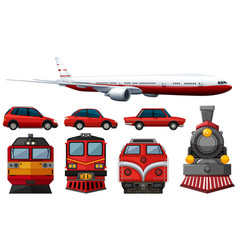Different types of vehicles in red color vector