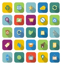 Ecology color icons with long shadow vector