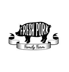 emblem of a family farm with fresh pork vector image