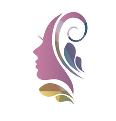 face of a beautiful womans profile vector image vector image