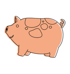 farm pig isolated icon vector image