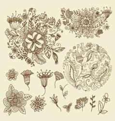 FLORAL DOODLES set vector image