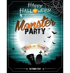 Halloween on a Monster Party theme vector image
