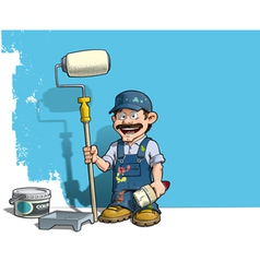 Handyman wall painter blue uniform vector