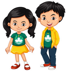 Happy boy and girl wearing shirt with flag of vector