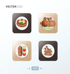 Hot dog icons design food on wood vector