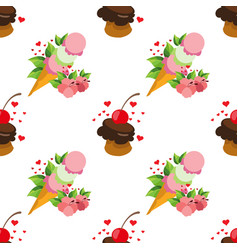 Ice cream waffle cup seamless pattern for design vector