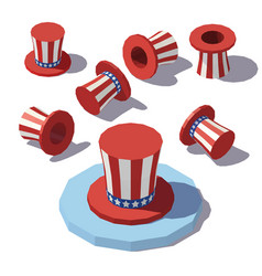 isometric uncle sam hat vector image vector image