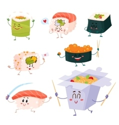 Japanese sushi rolls noodle characters with vector