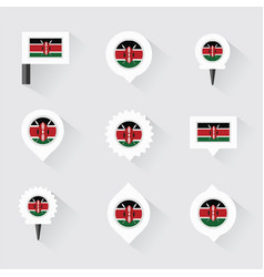 kenya flag and pins for infographic and map design vector image
