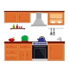 Kitchen room isolated furnishing interior vector