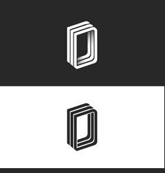 Letter d logo perspective modern typography design vector