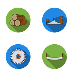 Logs in stacks two-handed saws circular saw vector