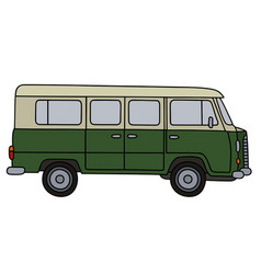 Old green minivan vector