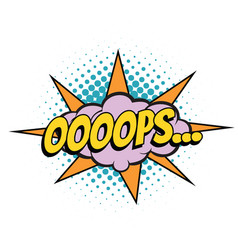 oops comic word vector image vector image