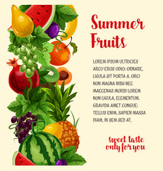 Poster with fresh summer tropical fruits vector