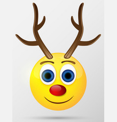 Reindeer emoticon emoji smiley vector image vector image