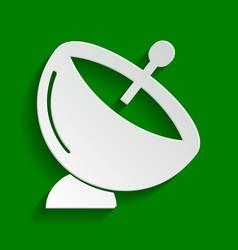 Satellite dish sign paper whitish icon vector