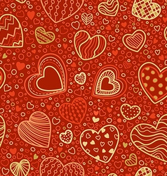 Seamless red and gold valentines pattern vector