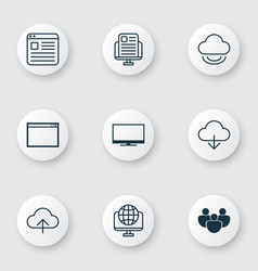 set of 9 world wide web icons includes display vector image