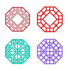 Set of hexagon korean pattern window frame vector