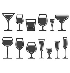 set of wineglass and glass different shapes icons vector image