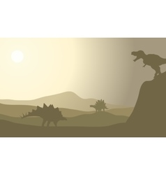 Silhouette of stegosaurus in desert vector