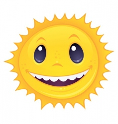 smiley sun vector image vector image