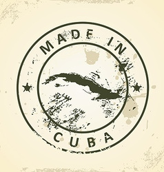 Stamp with map of Cuba vector image